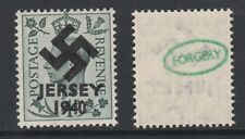 GB Jersey (272) 1940 Swastika Overprint forgey om genuine 4d stamp unmounted