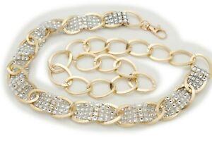 Women Gold Metal Chain Link Fancy Look Fashion Belt Silver Bling Beads M L XL