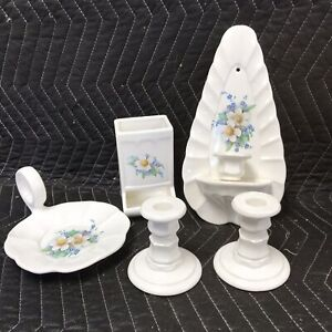 Set of Matching Ivory Color ceramic Pieces. Blue Accents Flowers Excellent