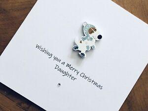 Personalised Handmade Christmas Cards - Wooden Dog On Skates 13.5cm X 13.5cm