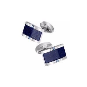 Silver Rectangular Cufflinks Blue Stone Glitter Groom Wedding Smart Gift Present