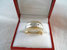 Diamond  14k Two Tone Gold 'Retro' Style Ring