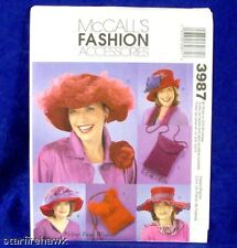 McCall's Pattern 3987 Women's 4 RED Hat, Bag Designs
