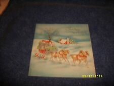 Vintage W & W Christmas Card - P5508D Carriage with Brown Horses, Red House