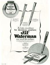 Publicité ancienne encre idéal Jif  Waterman 1930 issue de magazine