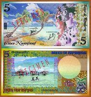 SPECIMEN, Kamberra, Kingdom, 5 Numismas, 2012, UNC > Polynesian Exotism TYPE 1