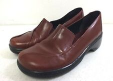 Clarks Red Leather Slip-On Shoes US Women's 8 EU 38.5 GREAT Fast Shipping LOOK