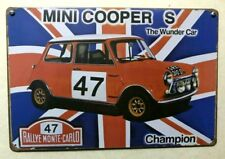 PLACA METAL VINTAGE DECORACION MINI COOPER S RALLYE MONTECARLO 47 COCHE CAR