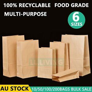 Brown Kraft Paper Bags Take Away Food Lolly Grocery Buffet Craft Gift Market Bag