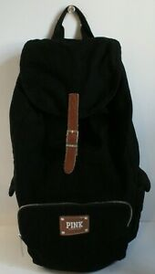 PINK Victoria's Secret Black Canvas Drawstring Backpack Tan Leather Accent