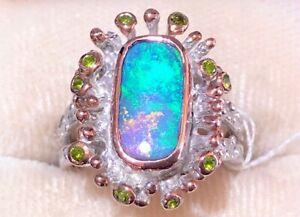 Twig Branch Rectangular Ocean blue Sea Spray Ombre pink Opal Ladies ring 6 M