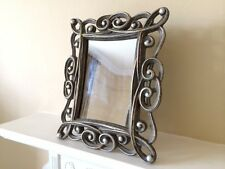 Shabby Chic Scroll Silver Distressed Vintage Resin Mirror Gift Hallway Bedroom