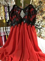 Lyrical / Ballet / Contemporary DANCE COSTUME - LARGE ADULT - RED -w- BLACK