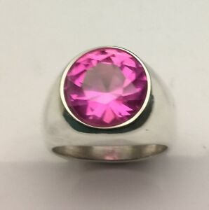 MJG STERLING SILVER MAN'S RING. 14MM LAB PINK SAPPHIRE . SIZE 10 1/4