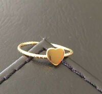 18K Gold 925 Sterling Silver Love Heart Ring Band Stack Size 6 7 8 8.5 9 9.5