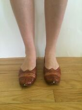Ladies Traditional Mojari Leather Sandals Shoes Slippers India Size 7