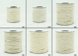 1mm - 5mm 100% Natural White Cotton Twisted Cord Craft Macrame Artisan String