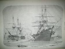CABLE TELEGRAPHE TRANSATLANTIQUE VAISSEAUX AGAMEMNON ET NIAGARA GRAVURES 1858