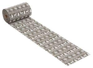 - 1 Meter Leinen-Optik-Stoff  10 cm Weihnachten grau Tischband Deko