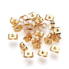 100 Gold 304 Stainless Steel Butterfly Earnuts Earring Backs Stopper 0.7mm Hole