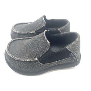 CROCS Gray Santa Cruz II Canvas Slip On Loafer Shoes Toddler Boys Size C6
