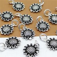 5pcs of 925 Sterling Silver Sunflower Sun Flower Charms Pendants for Bracelet