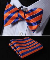 BS322N Orange Blue Stripe Men Woven Silk Self Bow Tie Pocket Square Set