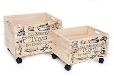 Wooden Childrens Boy or Girl's Toy Box Storage Chest Crate Portable Wheels