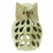 GISELA GRAHAM OWL TEA LIGHT CERAMIC CANDLE HOLDER 19 X 13CM