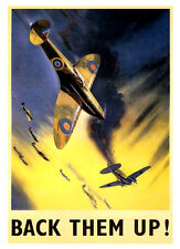 A3 Size Wall Poster Art Deco - Back Them Up RAF Spitfires War Print -#16