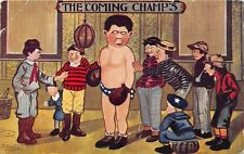 C98/ Sports Postcard c1910 BOXING Boxer GLoves A Beaty Artist Signed Comic