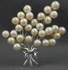 Massive Japanese Sterling Silver & 7.5mm-9.5mm Pearl Flowers & Bow Pin Brooch