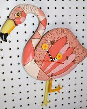 Michelle Allen Whimsical Pink Flamingo Clock CRAZY LEGS ships PRIORITY in 24 Hrs