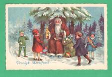 VINTAGE DUTCH CHRISTMAS POSTCARD SANTA CLAUS  GIVES TOYS TO KIDS UNDER TREE SNOW