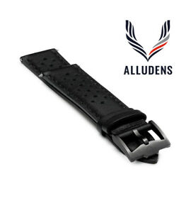 Black Handmade 20mm Perforated Genuine Leather mens watch strap Graphite Buckle