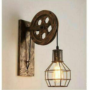 Industrial Retro Loft Wall Lamp Single Head Lifting Pulley Wall Light Fixtures