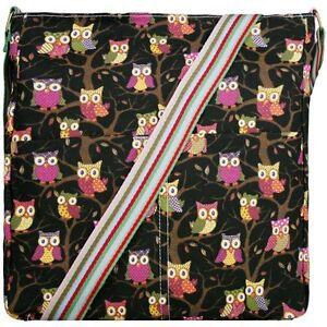 Canvas Owl printed Saddle Crossbody Shoulder Messenger Bag