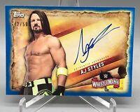 2020 Topps WWE Road to WrestleMania BLUE AUTO #A-AJ AJ Styles Autograph #42/50