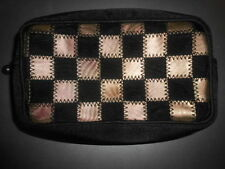 VTG Metallic Gold Black Stitch Checkered Patten Satin Cosmetic Case Clutch Charm