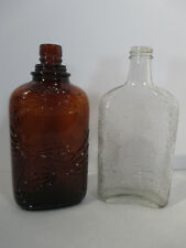 Spiderweb Bottles Vintage Whiskey Amber Clear Glass Pint Set of 2 Halloween