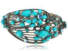 Vintage Flower Shape Blue Crystal Rhinestone Flower Cuff Bangle Bracelet