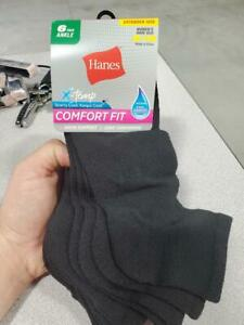 2 PACKS OF HANES X-TEMP COMFORT FIT ARCH SUPPORT WOMEN'S BLACK SOCKS SIZE 8-12