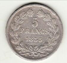 LOUIS PHILIPPE  5 FRANCS ARGENT 1835 W TB  a  TTB