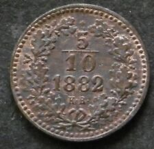 Hungary 5/10 krajczar 1882 KM#468