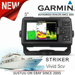 New Garmin STRIKER Vivid 5cv│5'' Marine GPS Fish Finder│ClearVU│CHIRP Sonar│IPX7