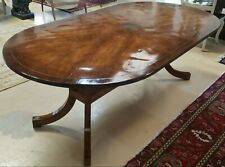 "Antique Oval Dining Table 84"" x 44"" w  Inset Brass Star & Edge Band Curved Legs"