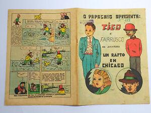 RARE 1945 TINTIN First Color Appearance O PAPAGAIO BD Portuguese Magazine #513