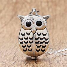 Cute Silver Vintage Night Owl Necklace Pendant Quartz Pocket Watch Necklace