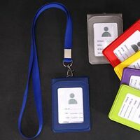 Faux Leather Wallet Credit Card Badge Holder Lanyard 3 Slots Fit for ID Card