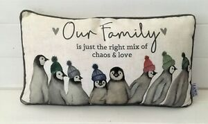 Cotton Linen Blend Our Family Penguin Right Mix Winter Cushion & Inner 45x25cm